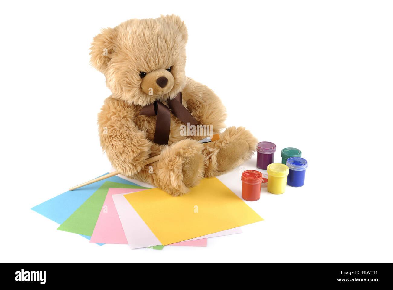 Teddybär Malerei Farben isoliert auf weiss Stockfoto, Bild: 93381345 ...