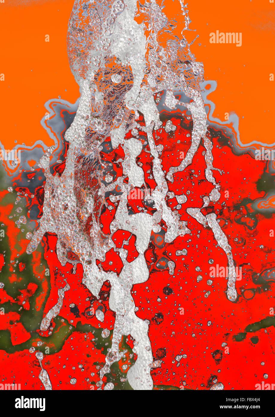 Spritzbrunnen auf einem konzeptionellen Hintergrund Stockbild