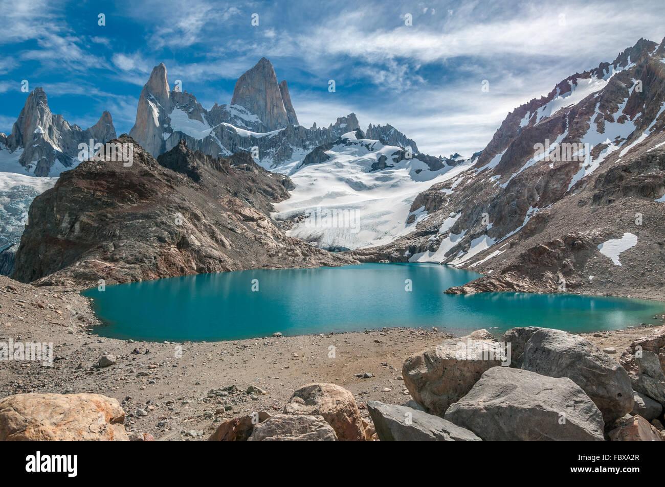 Fitz Roy Berg und Laguna de Los Tres, Patagonien, Argentinien Stockbild
