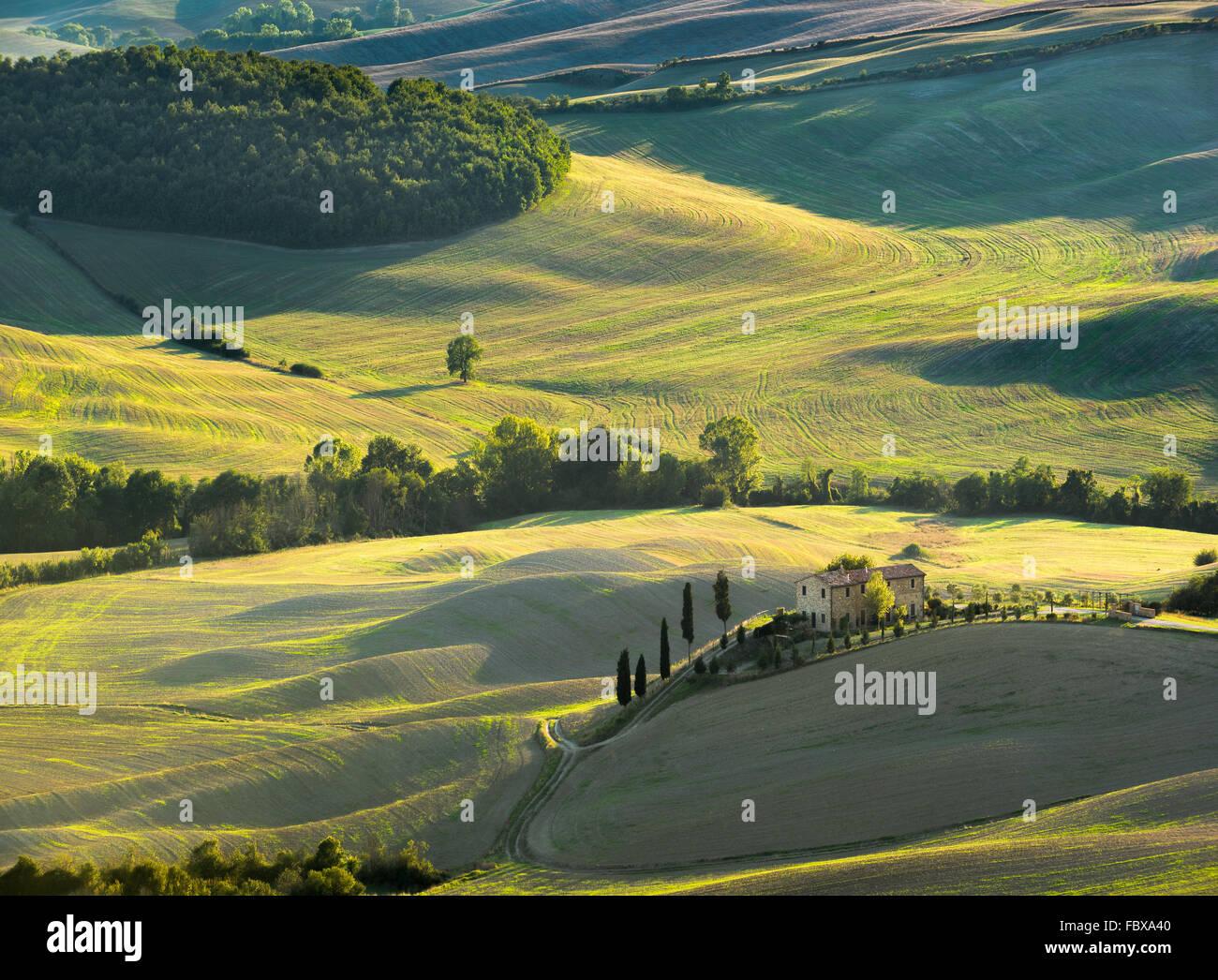Toskanische Landschaft der Nationalpark des Val d ' Orcia, ein UNESCO-Weltkulturerbe Stockbild