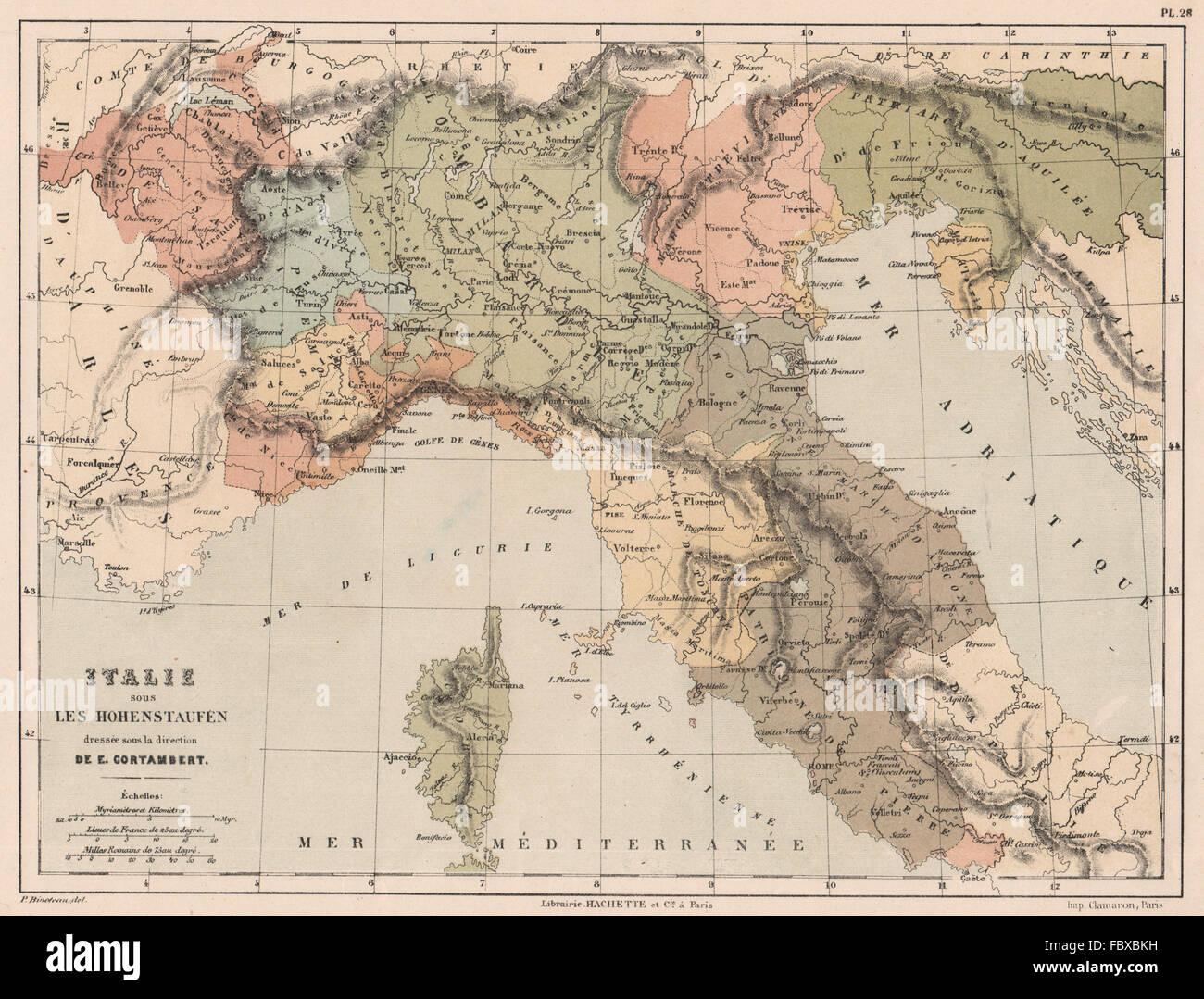 Norditalien Karte.Staufer Italien Norditalien 12 Jahrhundert Swabia Cortambert