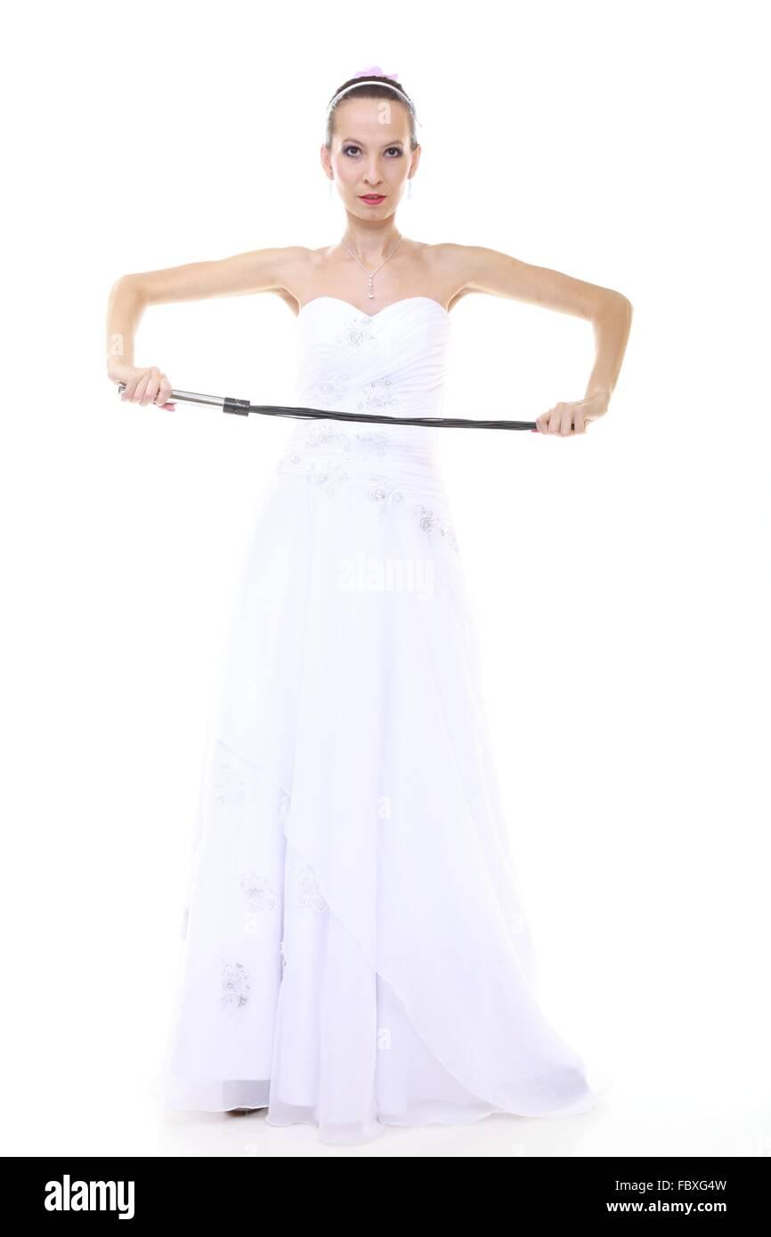 Tag der Hochzeit. Voller Länge junge attraktive Braut im weißen ...