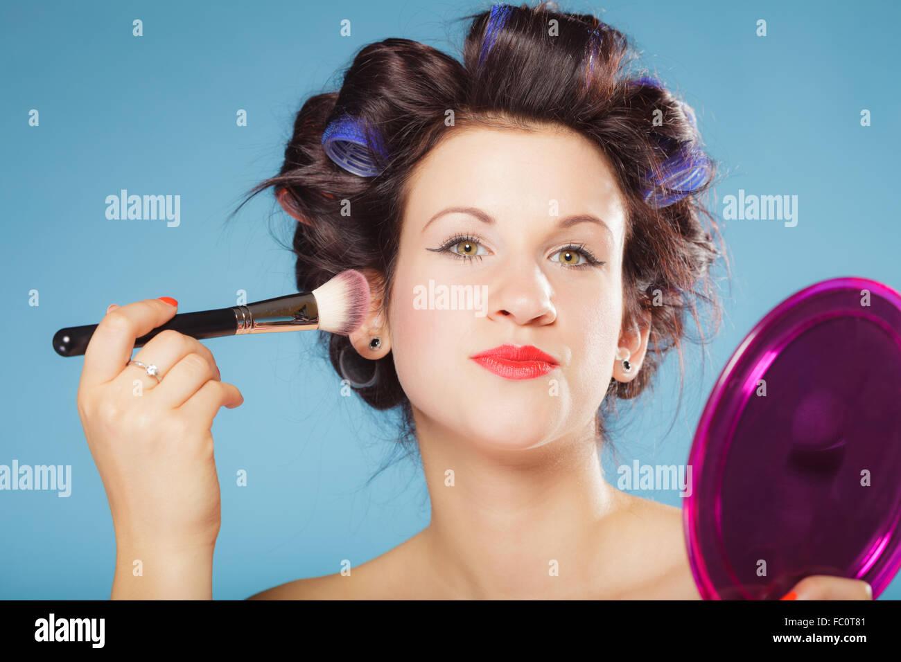 Frau mit Rouge Rouge Make-up Stockbild