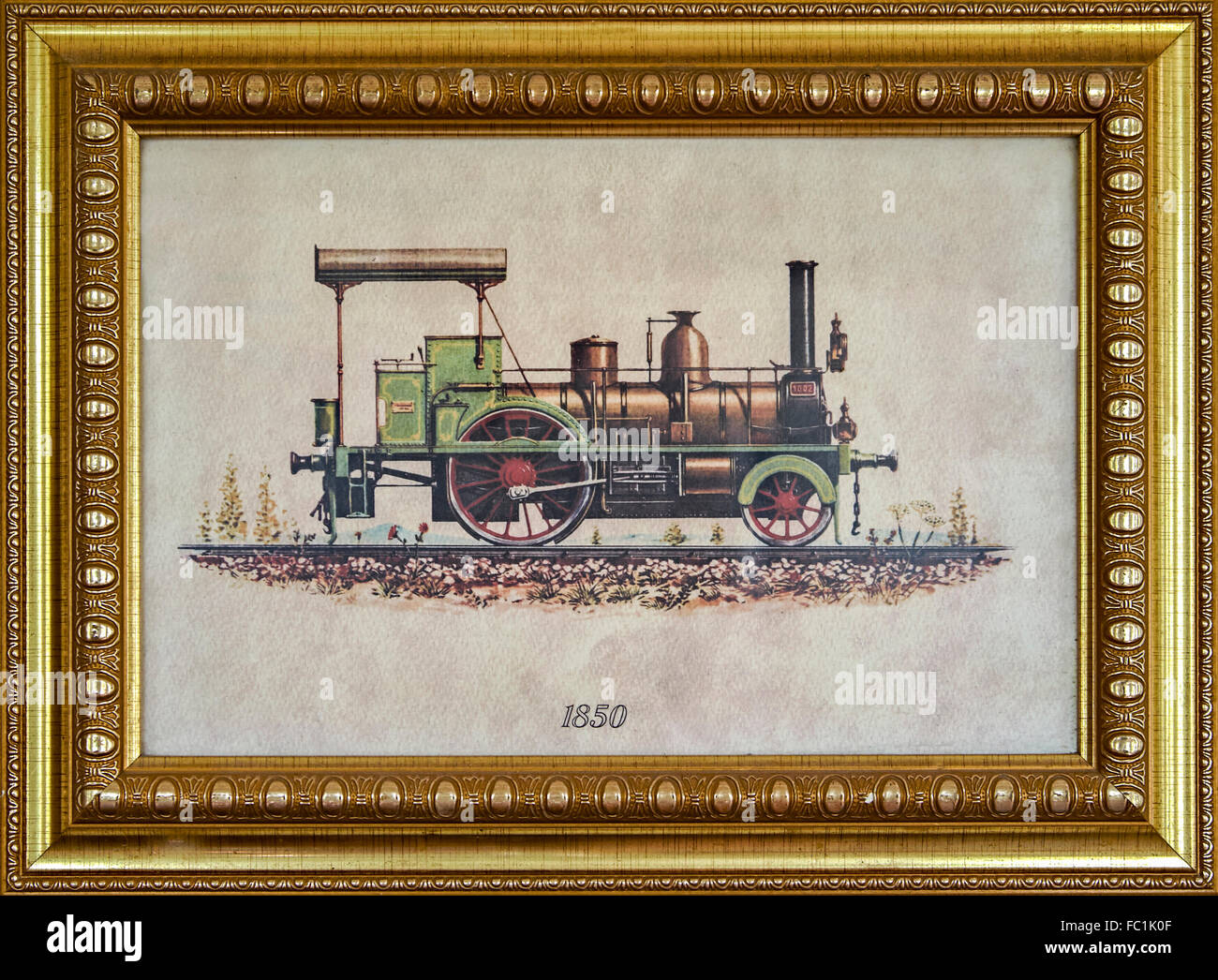 Vintage Gerahmte Gemälde eine 1850 amerikanische Dampflok Stockfoto ...