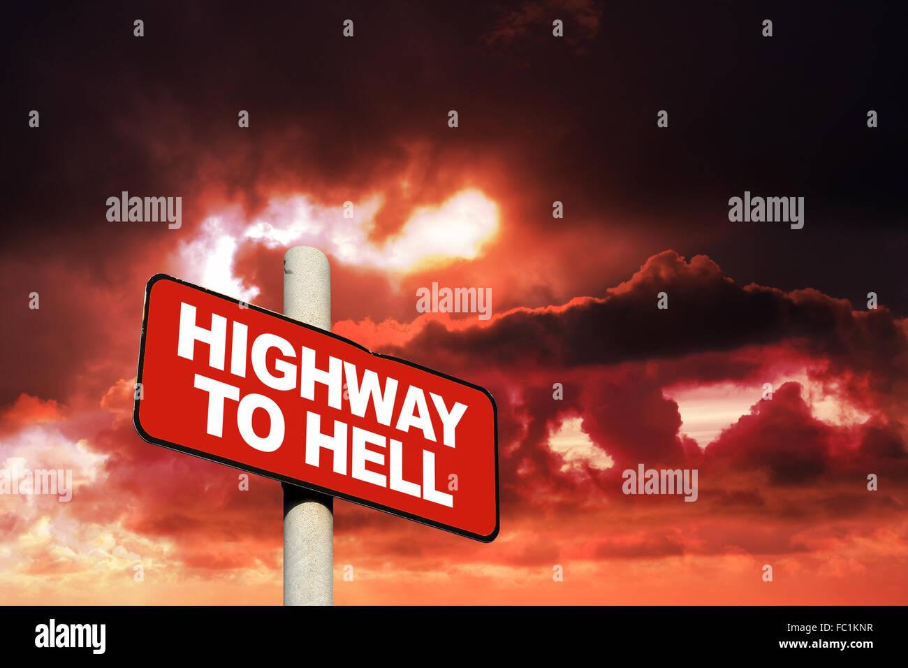 Highway zur Hölle Zeichen Stockbild