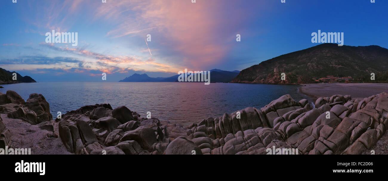 Abend am Strand von Porto - Corsica Stockbild