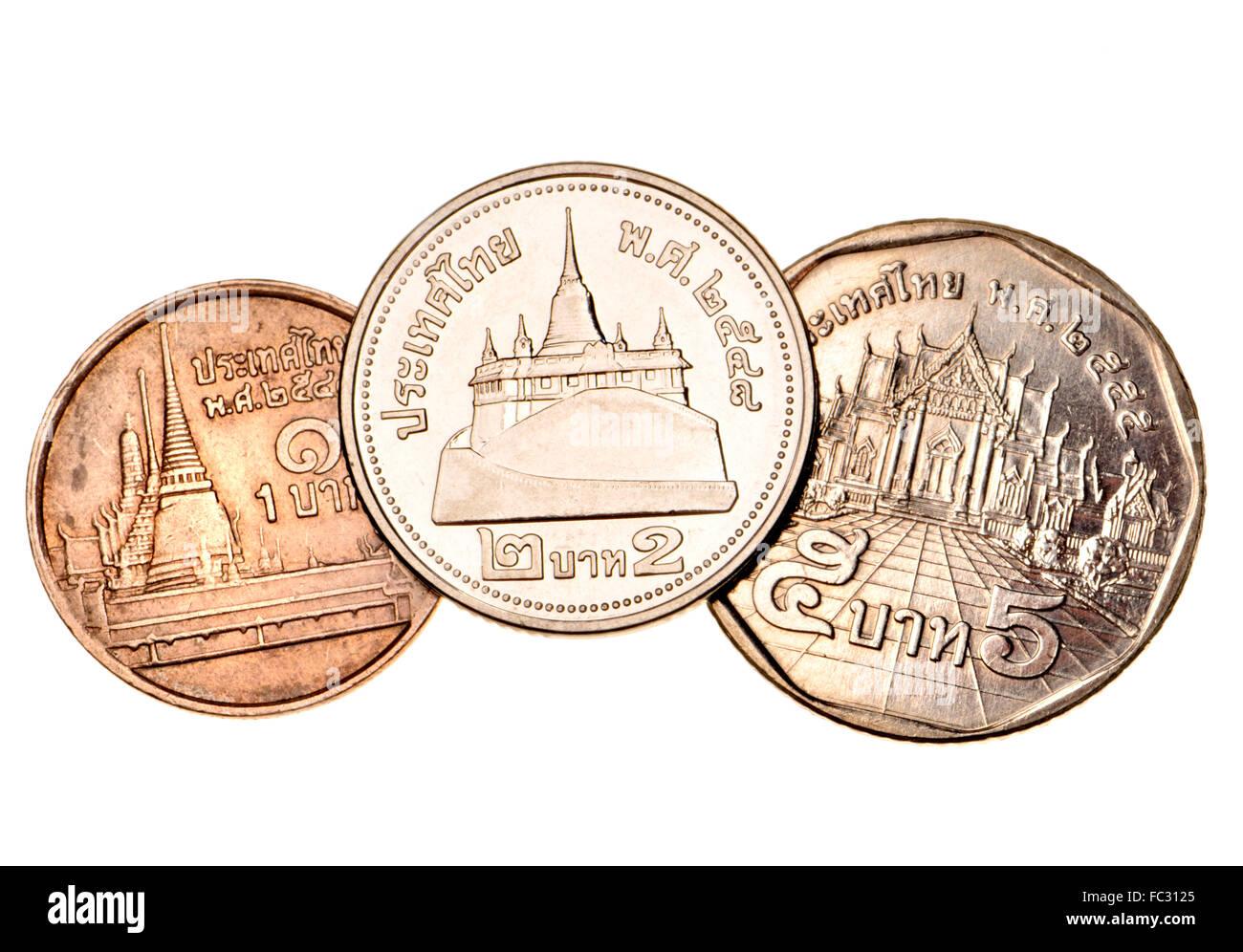 Thai 1 2 Und 5 Baht Münzen Zeigen Wat Phra Kaew 1 Der Golden