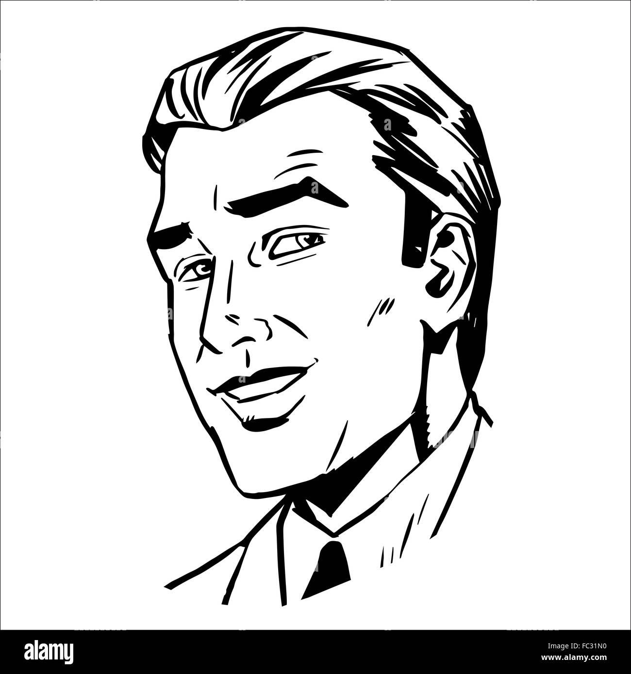 Skizzieren Sie Mann Gesicht lächelnd Grafiken Stockbild