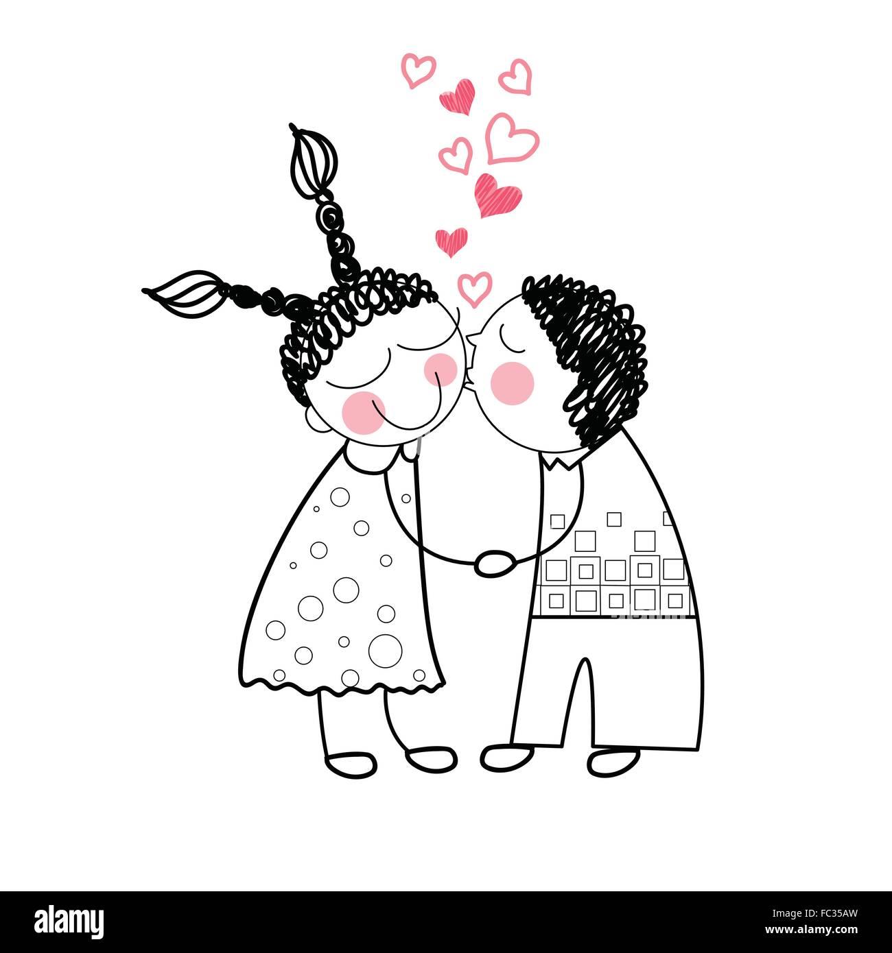 Paar Kuss Rotes Herz Form Liebe Holding Hande Zeichnen Vektor