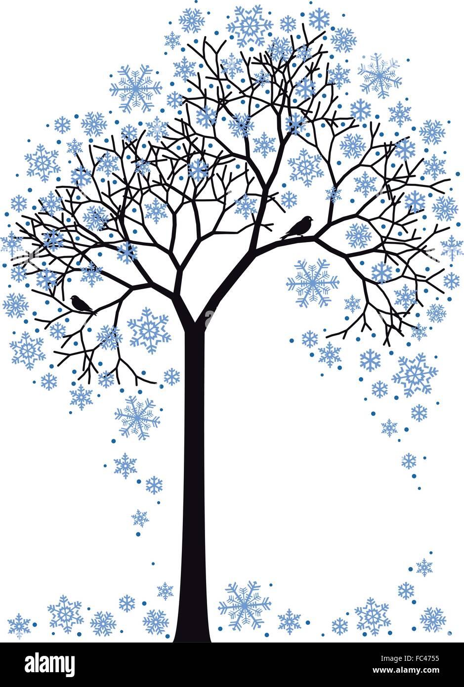 schönen Winter Baum mit Schneeflocken, Vektor-Hintergrund Stock Vektor