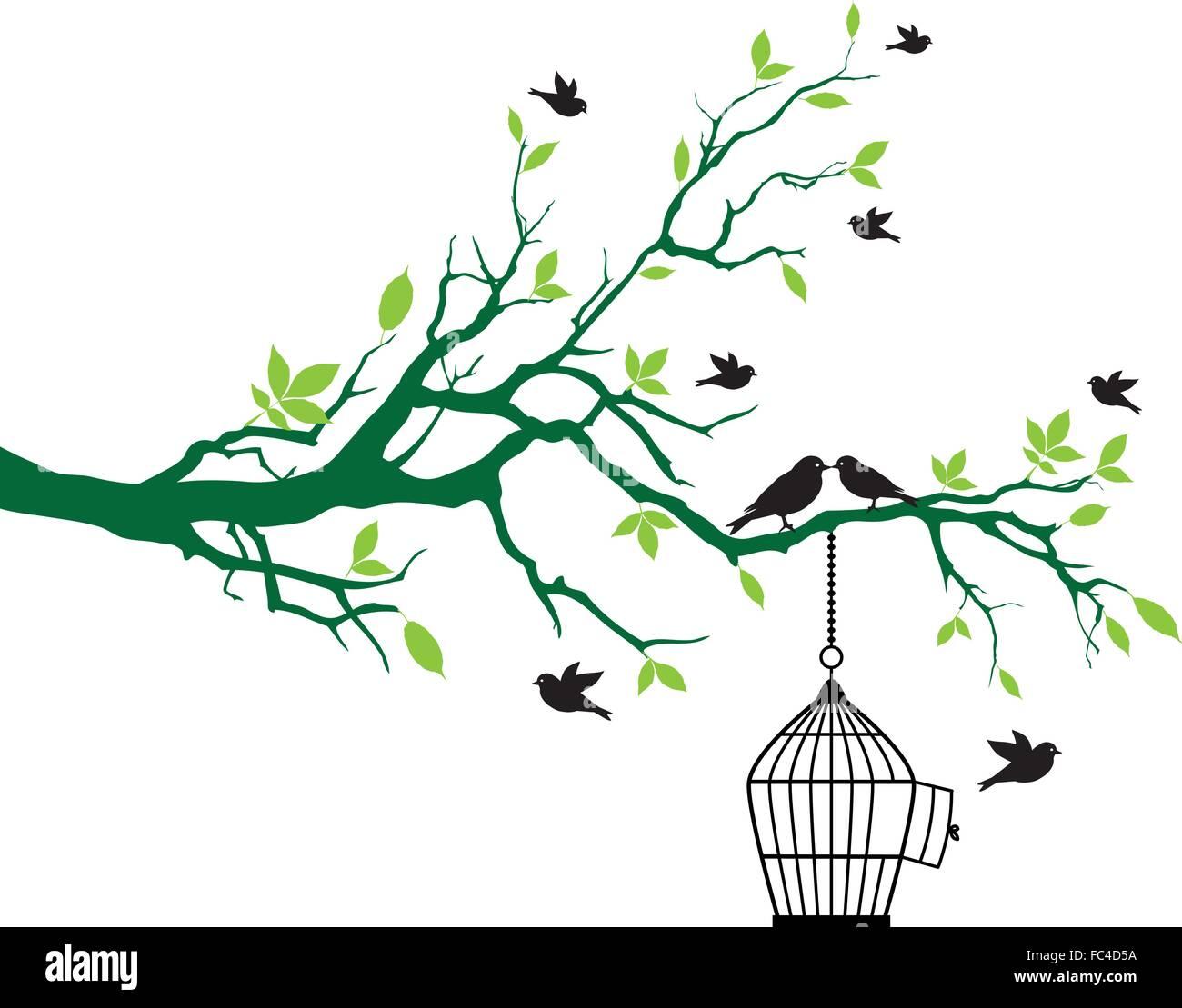 Vögel auf Baum mit offenen Vogelkäfig Stockbild