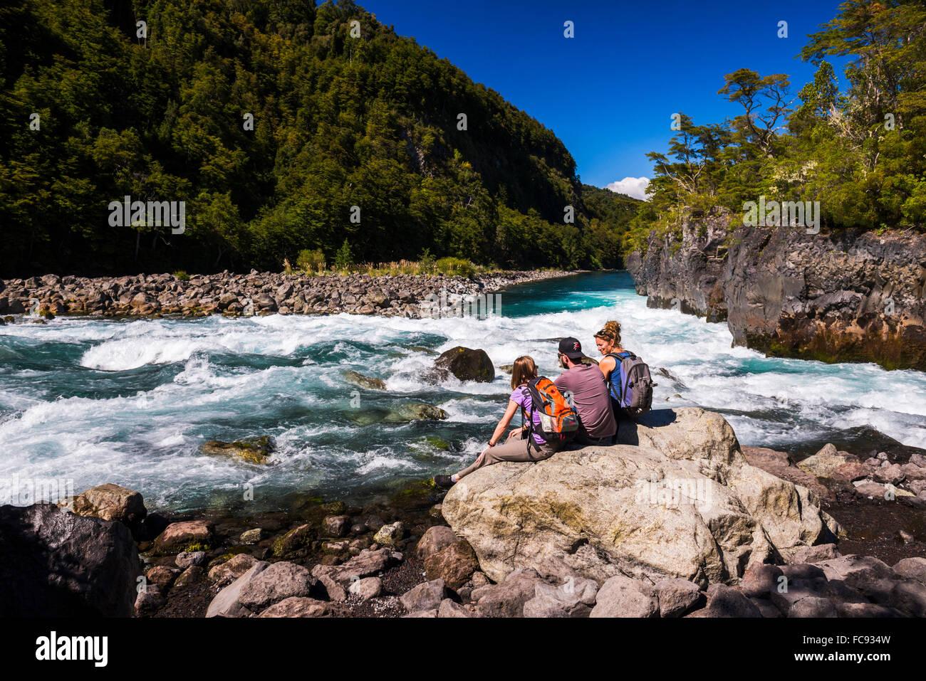 Petrohue Falls, Vicente Perez Rosales Nationalpark, chilenischen Seengebiet, Chile, Südamerika Stockbild