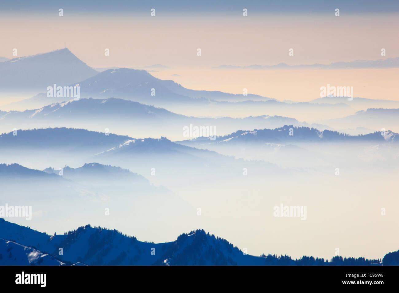 Blick vom Säntis, Appenzell, Schweizer Alpen, Schweiz, Europa Stockbild