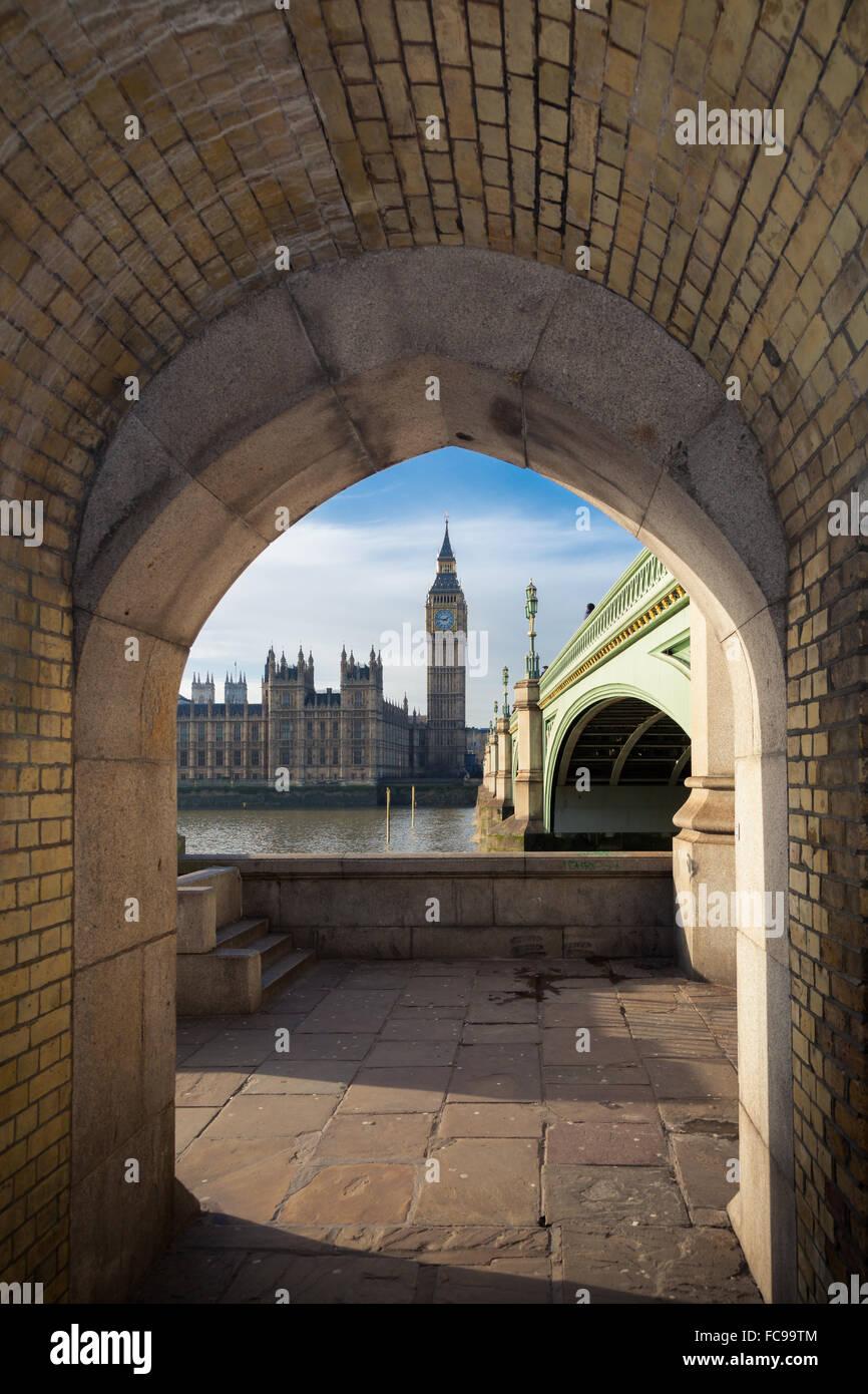 Big Ben und Westminster Bridge im Zentrum von London Stockbild