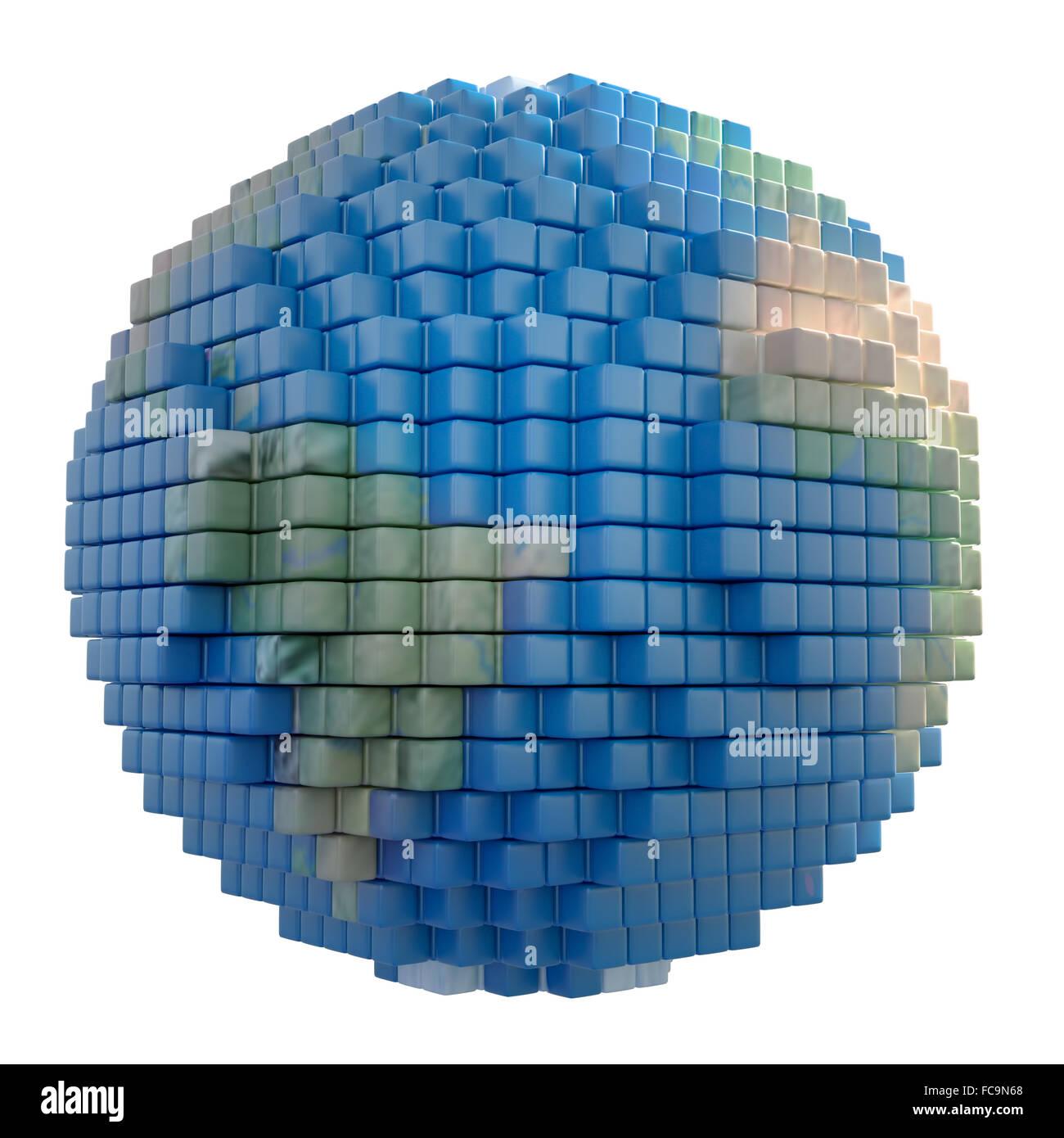 Erdkugel gemacht aus Voxel 3d Würfel Stockbild