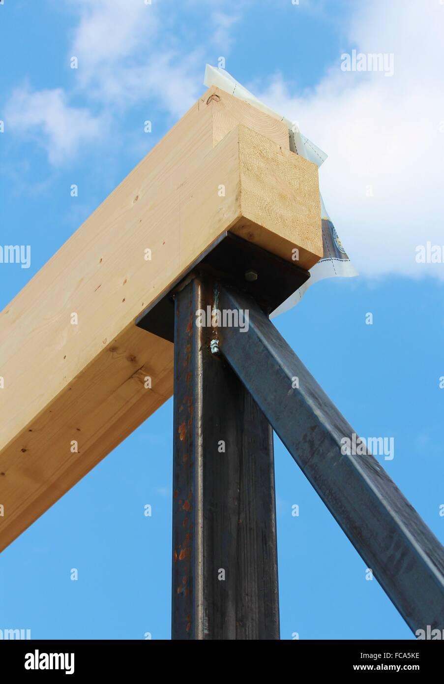 Holzbau-detail Stockfoto