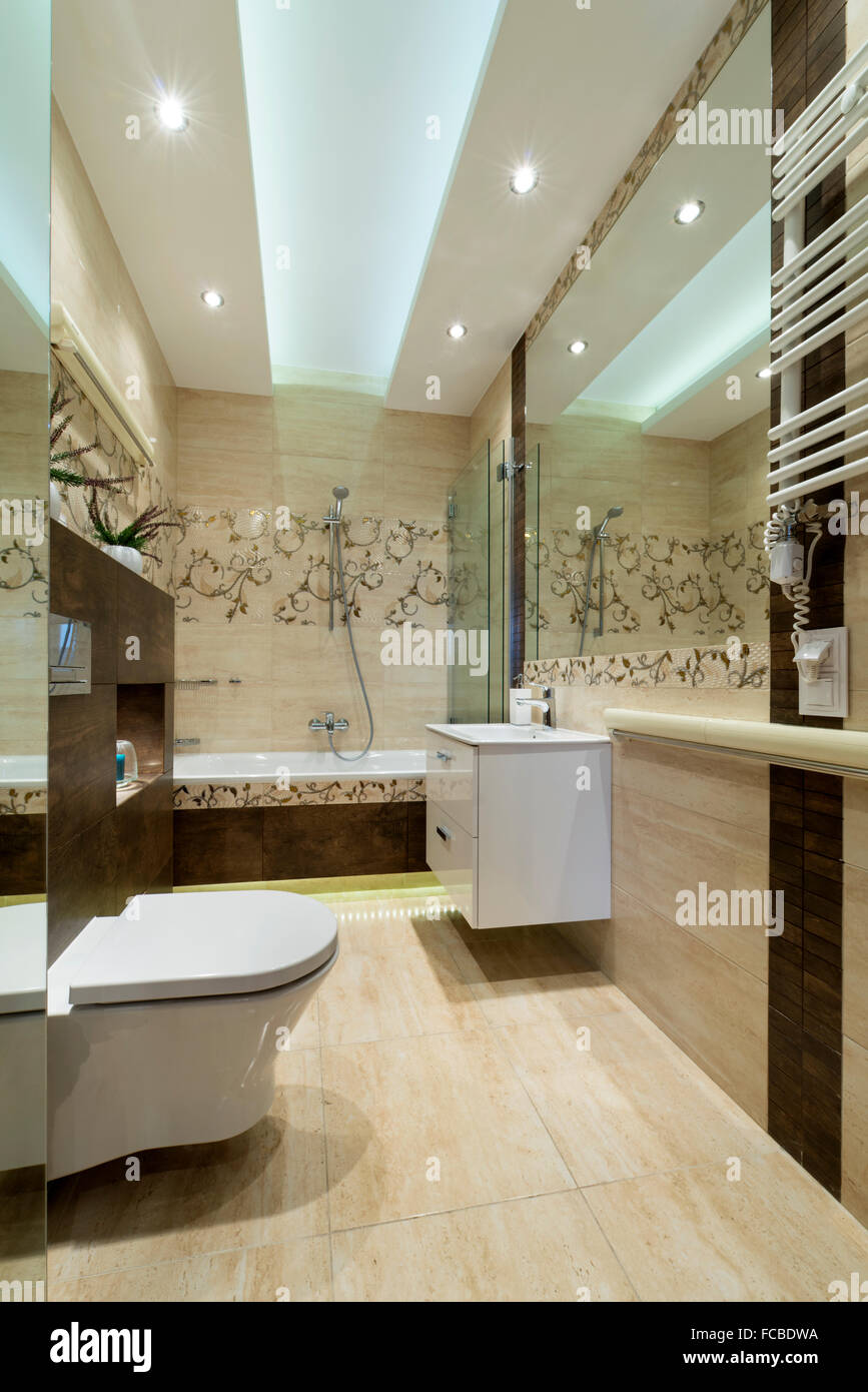 Bad in der kleinen Wohnung im skandinavischen Stil Stockfoto, Bild ...