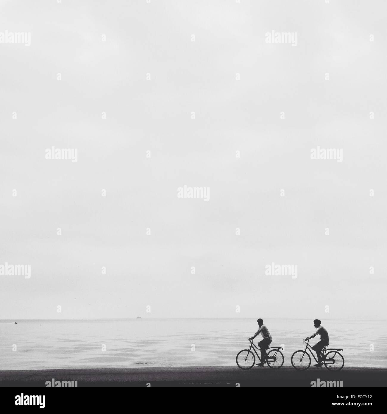 Männer Reiten Fahrrad am Strand gegen klaren Himmel Stockbild