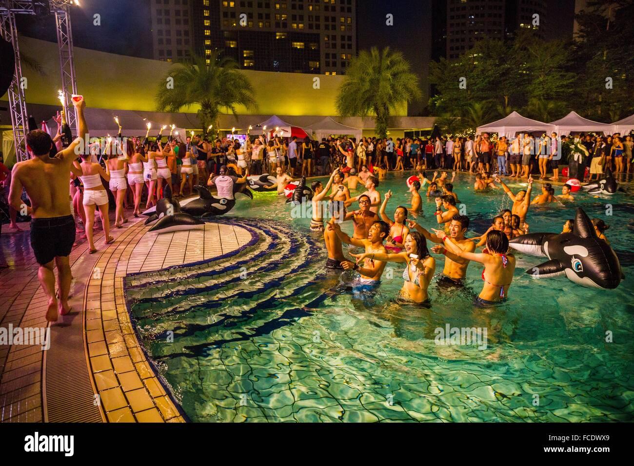 Party Im Schwimmbad Pan Pacific Hotel Grand Prix Von Singapur
