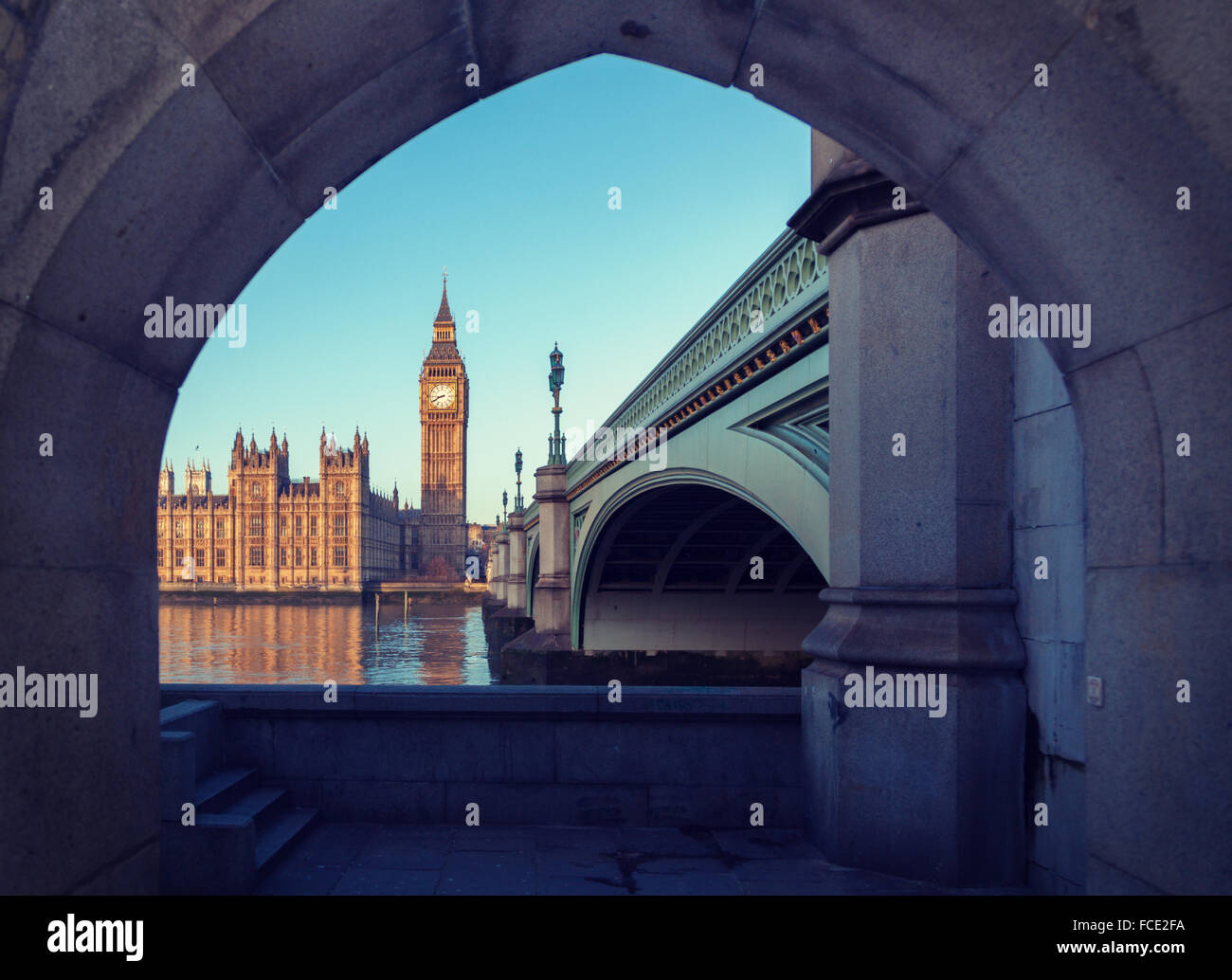 Berühmten Big Ben Uhrturm im Zentrum von London Stockbild