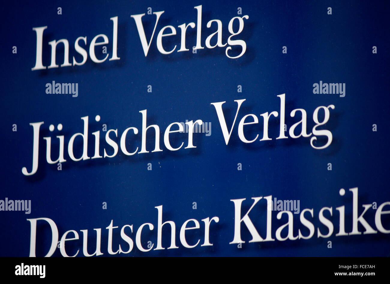 """Markenname: """"Insel Verlag"""" """"Januar-Verlag"""", Berlin. Stockbild"""