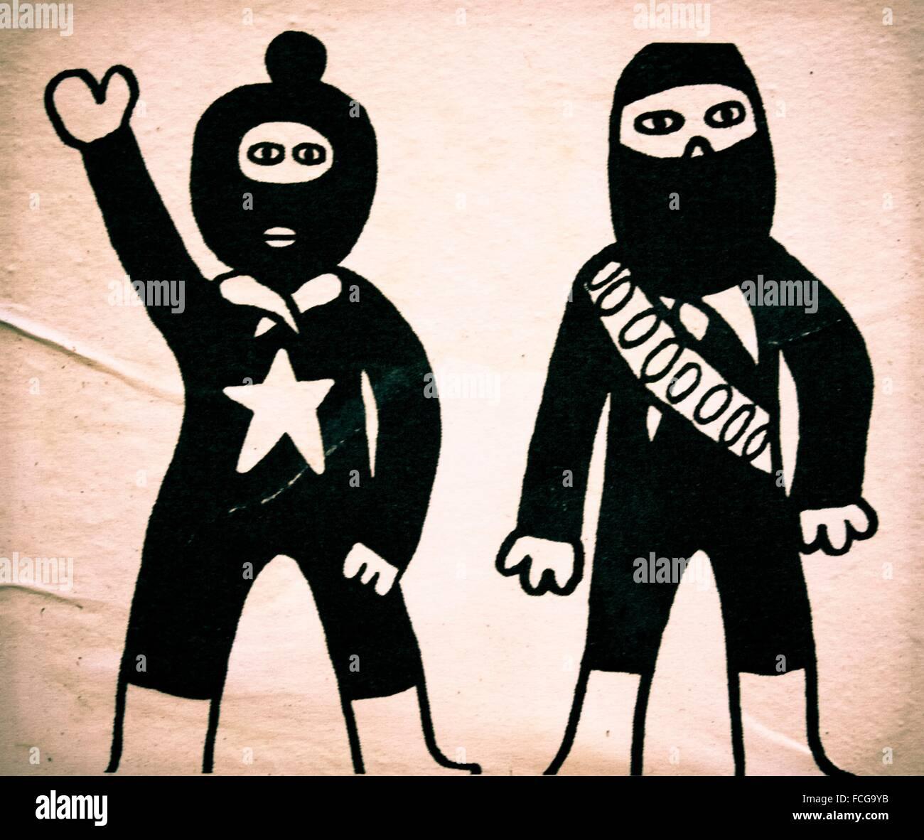Straße Zeichnung illustriert ein paar Kämpfer, die ihre Gesichter ...