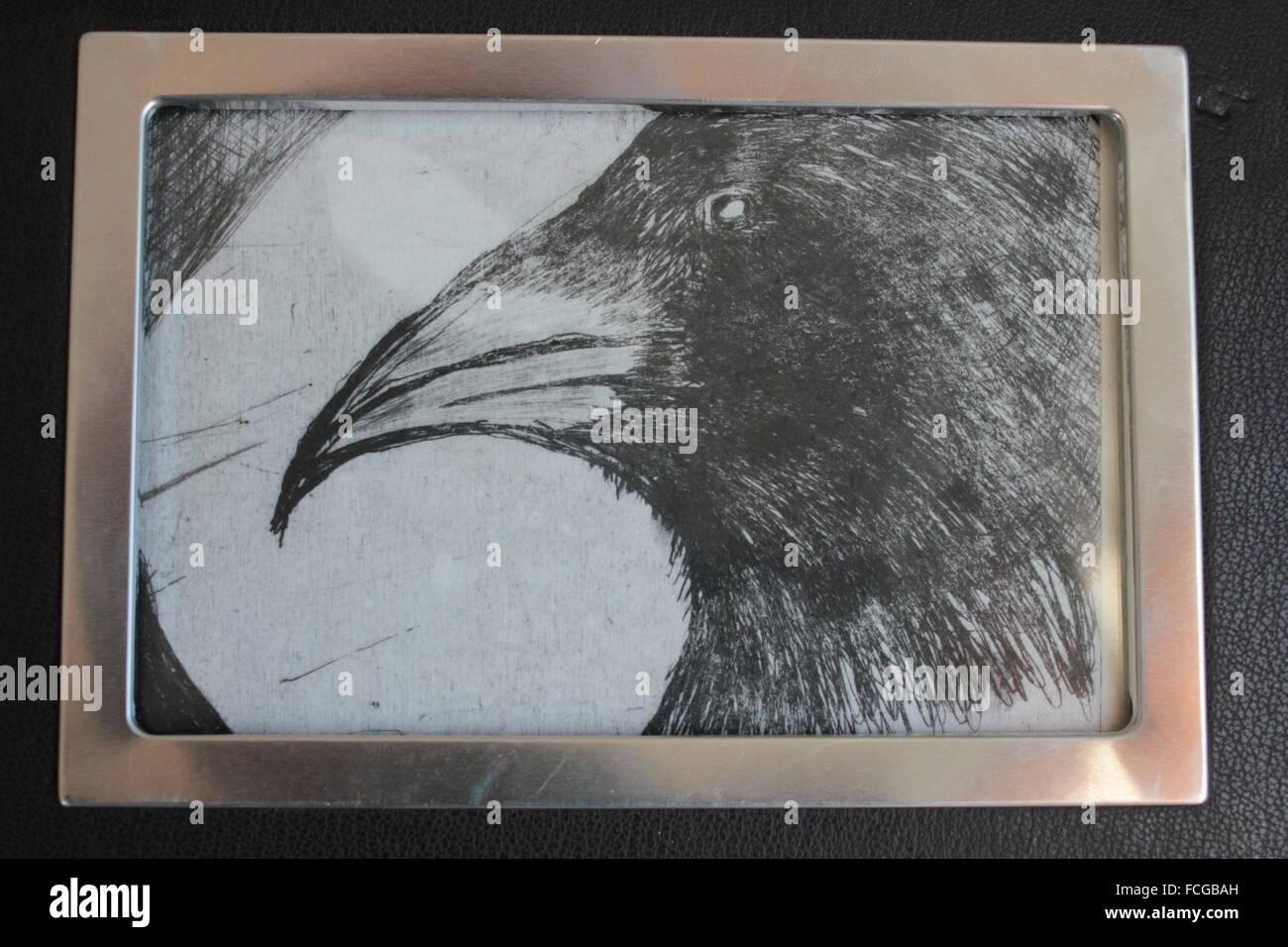 gerahmte schwarz-weiß kalte Platte drucken der Krähe Stockfoto, Bild ...