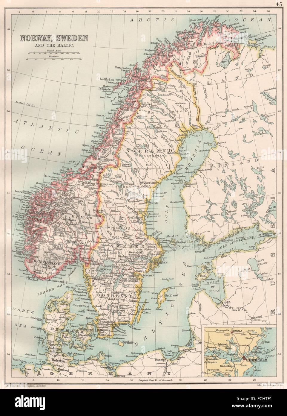 Karte Norwegen Dänemark.Skandinavien Norwegen Schweden Dänemark Ostsee Stockholm