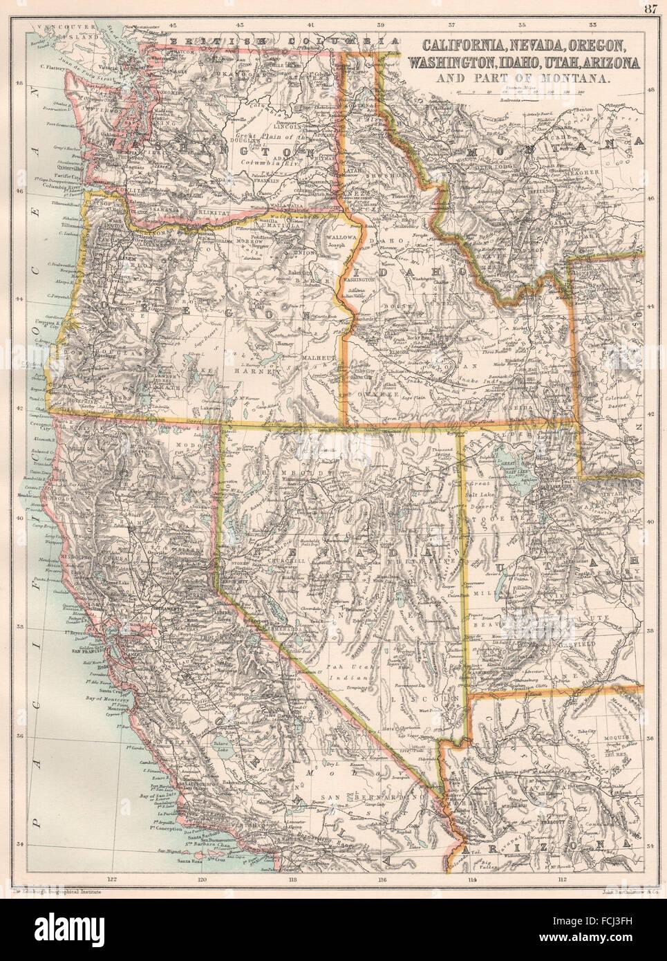Karte Usa Westen.Westen Der Usa Kalifornien Nevada Oregon Washington Idaho Utah