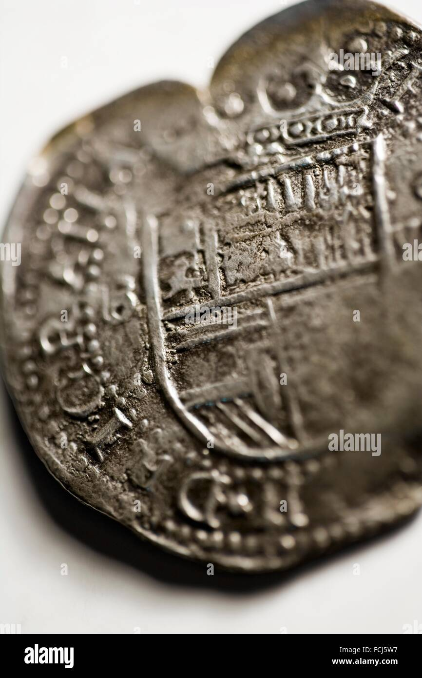 Stillleben Mit Antiken Münzen 8 Reales1624 Stockfoto Bild