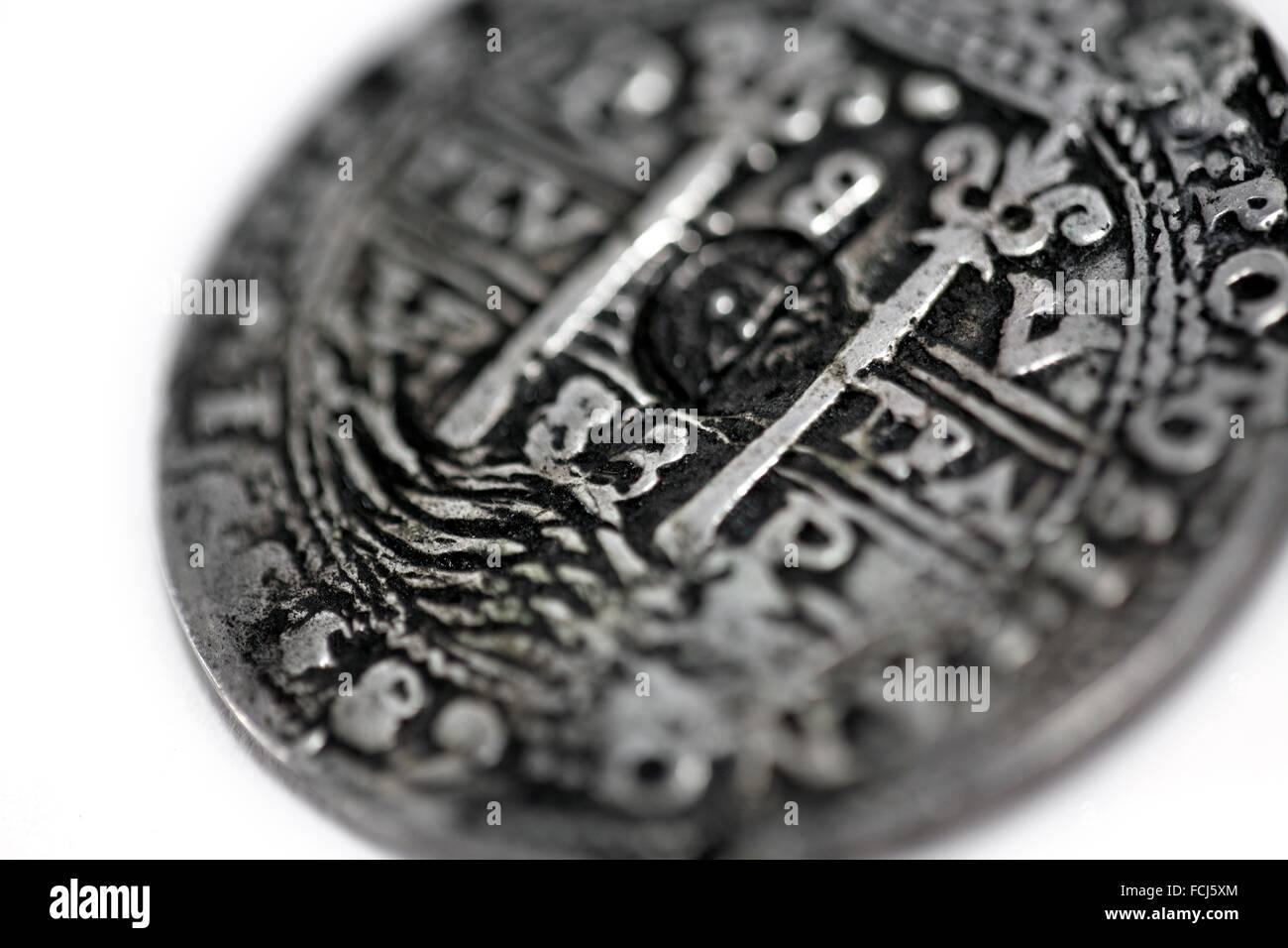 Stillleben Mit Antiken Münzen 8 Reales Carlos Iii Von Spanien Die