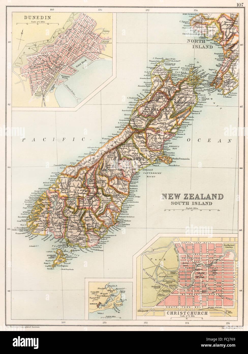 Karte Neuseeland Südinsel Zum Ausdrucken.New Zealand South Island Map Stockfotos New Zealand South Island