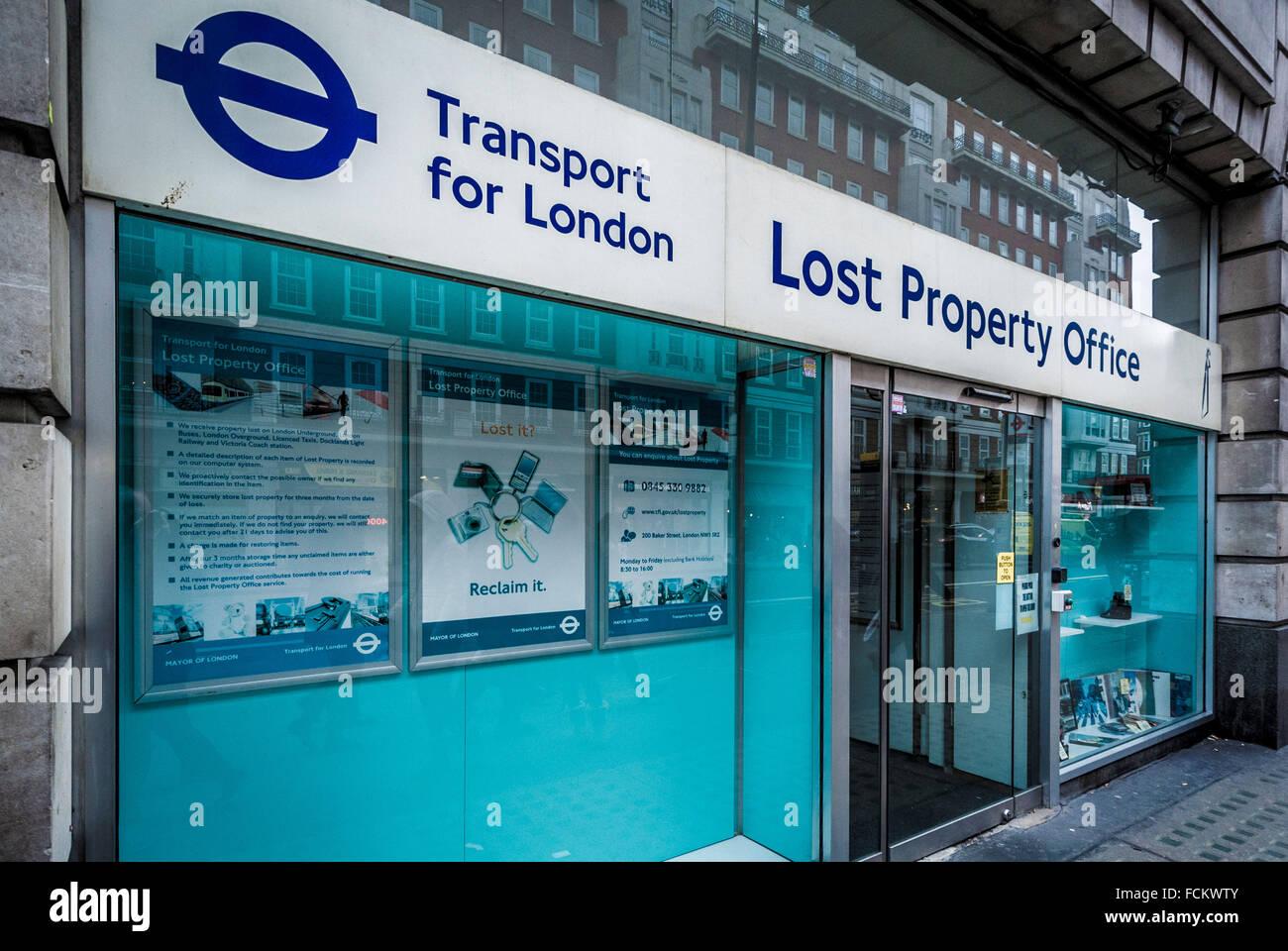 Transport For London Fundbüro, London, UK. Stockbild
