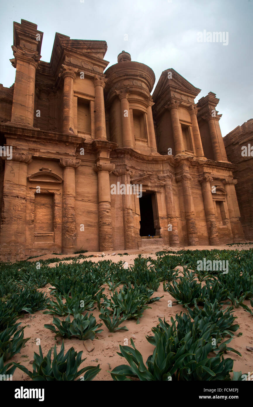 Das Kloster Al Deir in Petra, Stockbild