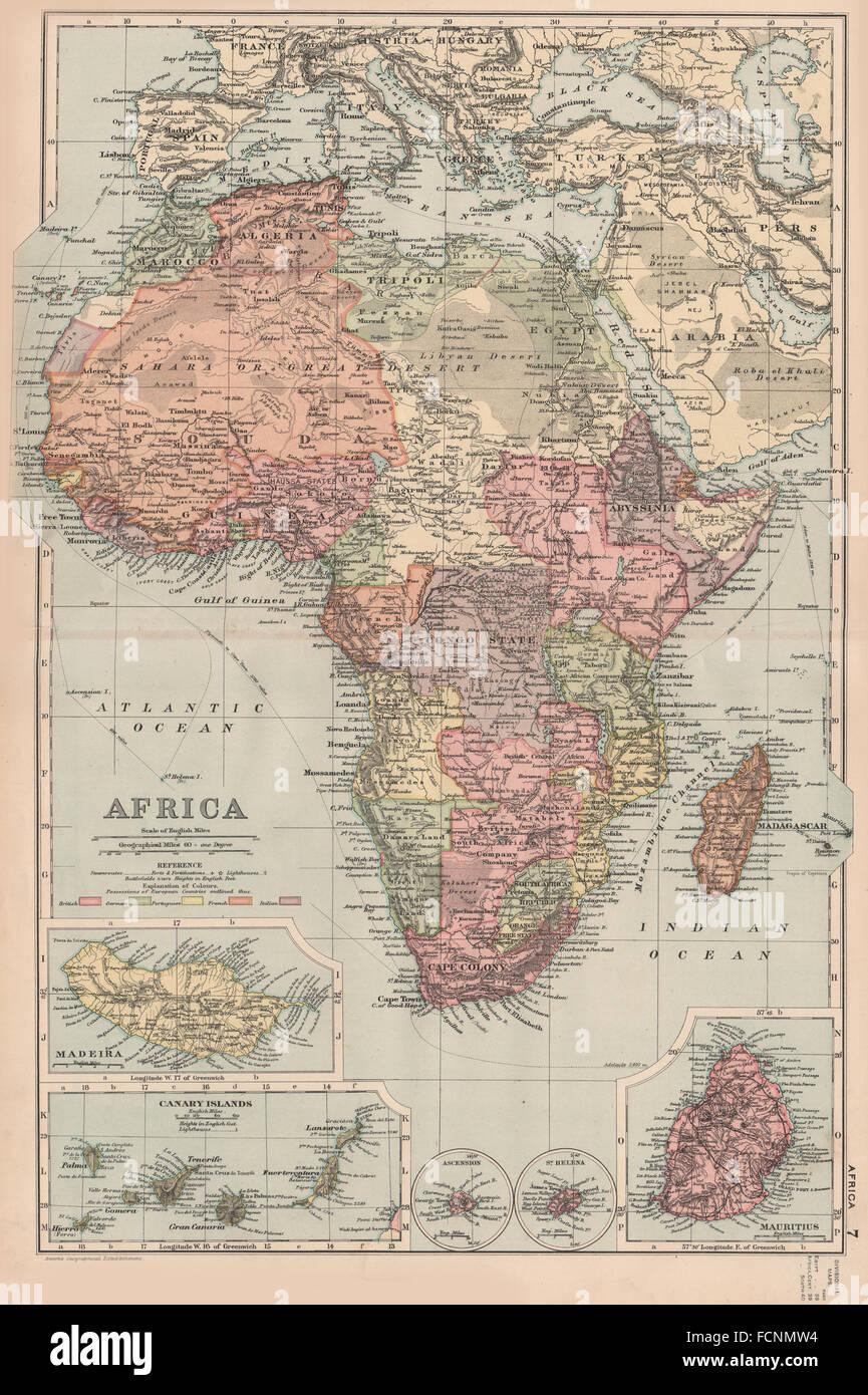 Afrika Karte Deutsch.Kolonialen Afrika British Deutsch Französisch Madeira Kanaren