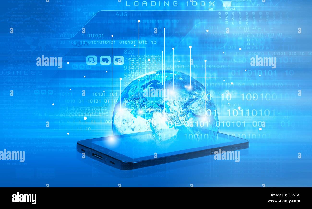 Moderne Technologie Kommunikationskonzept mit Handy auf High-Tech-Hintergrund Stockbild