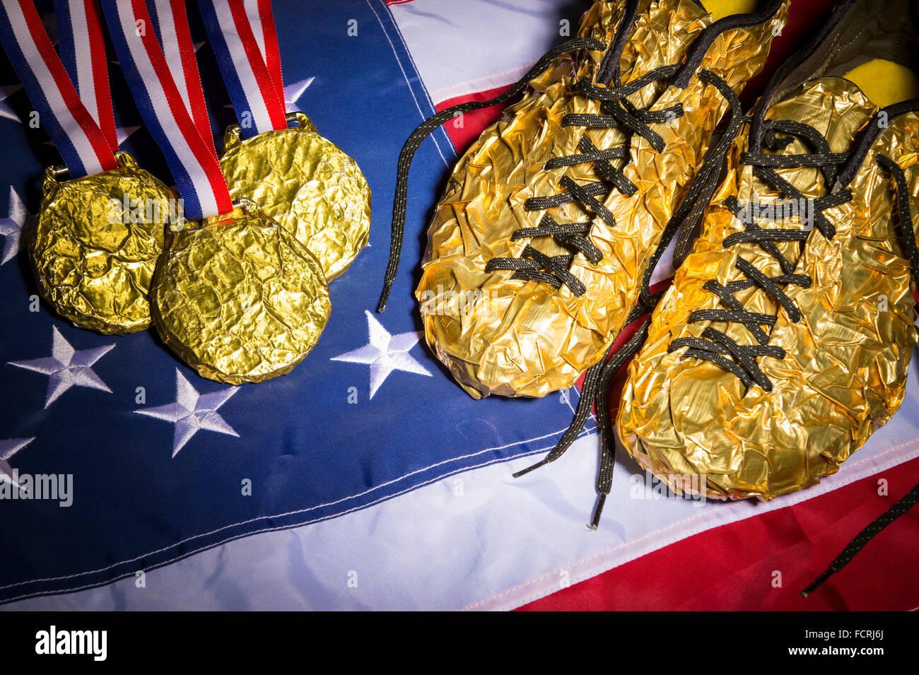 Race Life Running Medals Stockfotos & Race Life Running