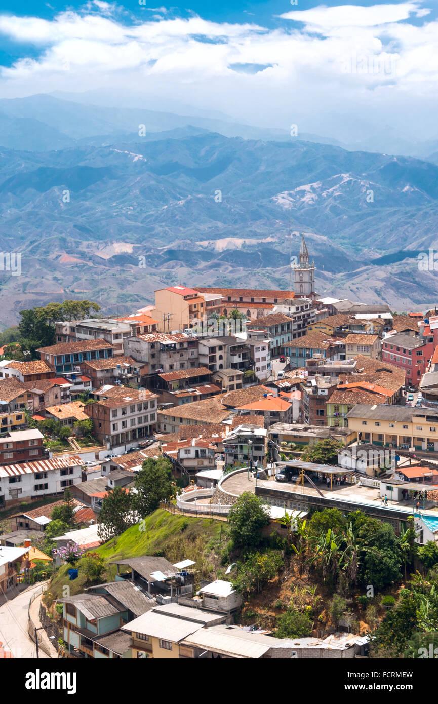 Zaruma - Stadt in den Anden, Ecuador. Das Hotel liegt in der südlichen Provinz von El Oro (das bedeutet buchstäblich Stockbild