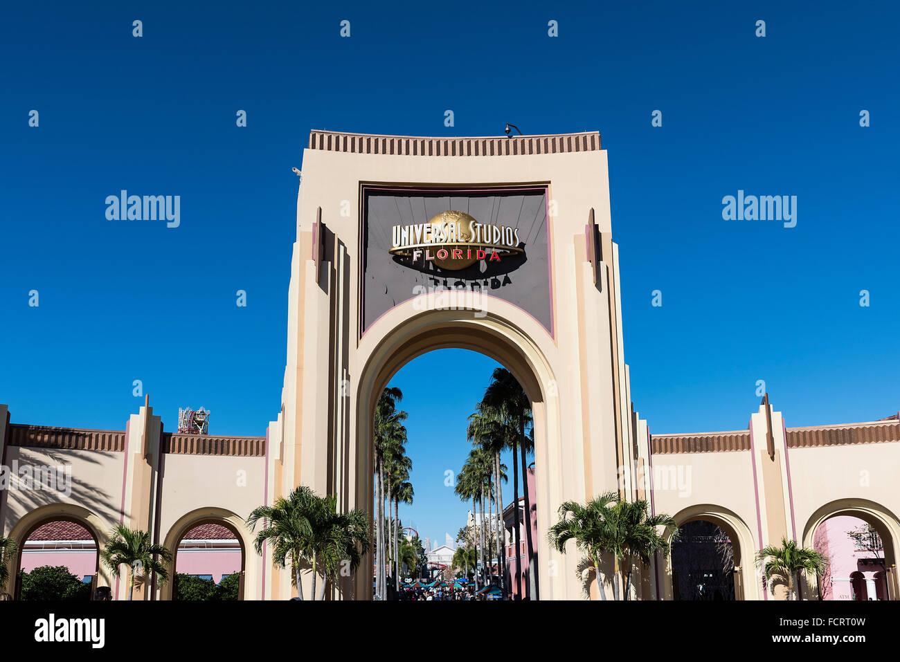 Universal Orlando Resort Eingang Tor, Orlando, Florida, USA Stockfoto