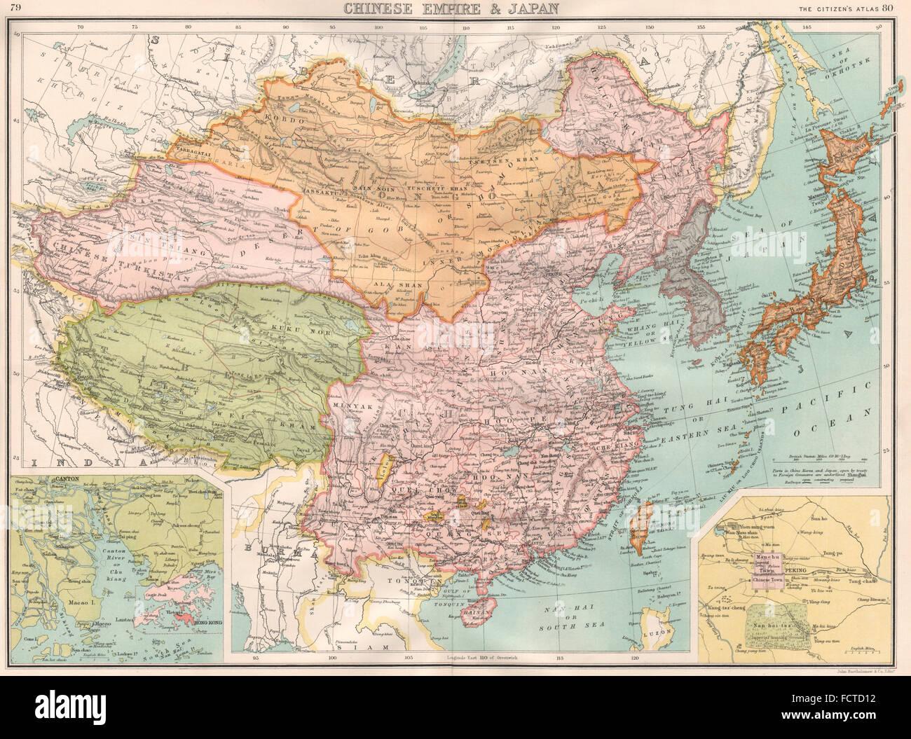 Japan Karte Physisch.Kaiserreich China Japan Tibet Turkestan Mongolei Inset