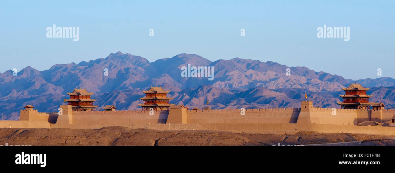 China, Provinz Gansu, Jiayuguan, die Festung am Westende der großen Mauer, UNESCO-Welterbe Stockfoto