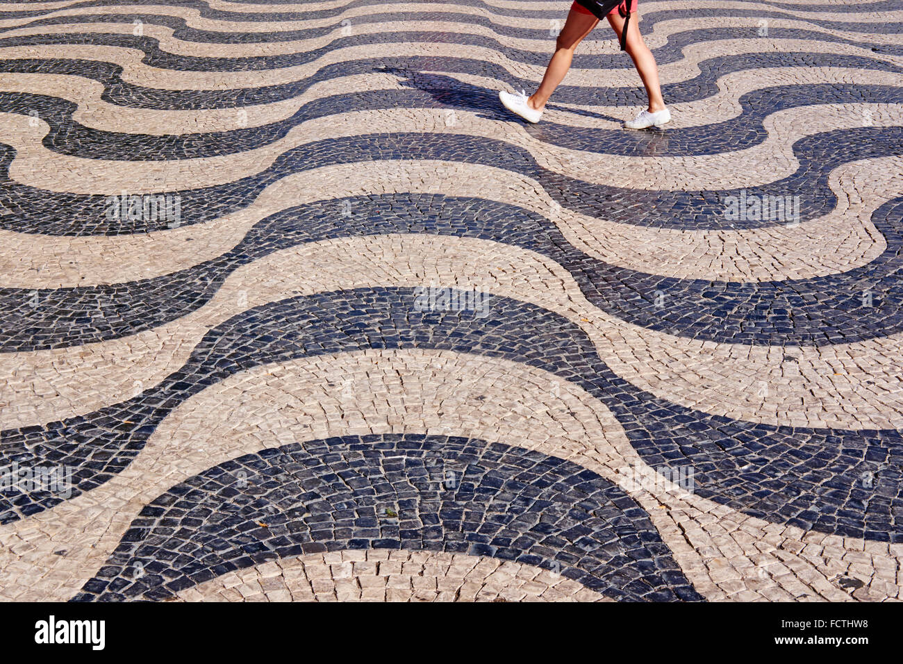 Portugal, Lissabon, Bürgersteig in Rossio-Platz oder Dom Pedro IV square Stockbild