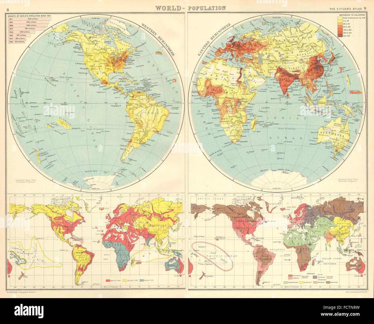 Weltbevölkerung: Rennen & Religionen. Bartholomäus, 1924 Vintage Karte Stockbild