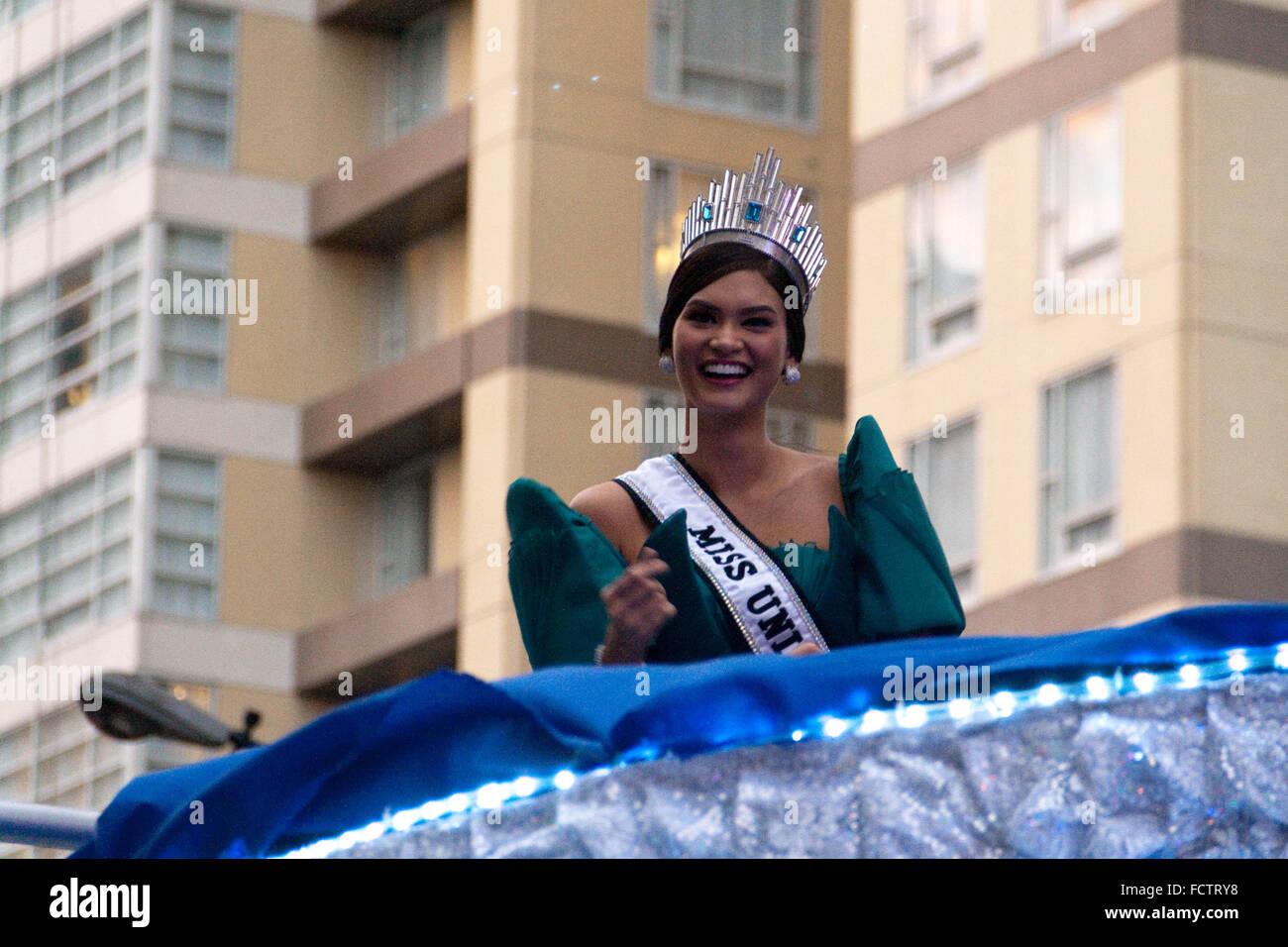 Philippinen. 25. Januar 2016. Führen Sie Miss Universe 2015 Pia ...