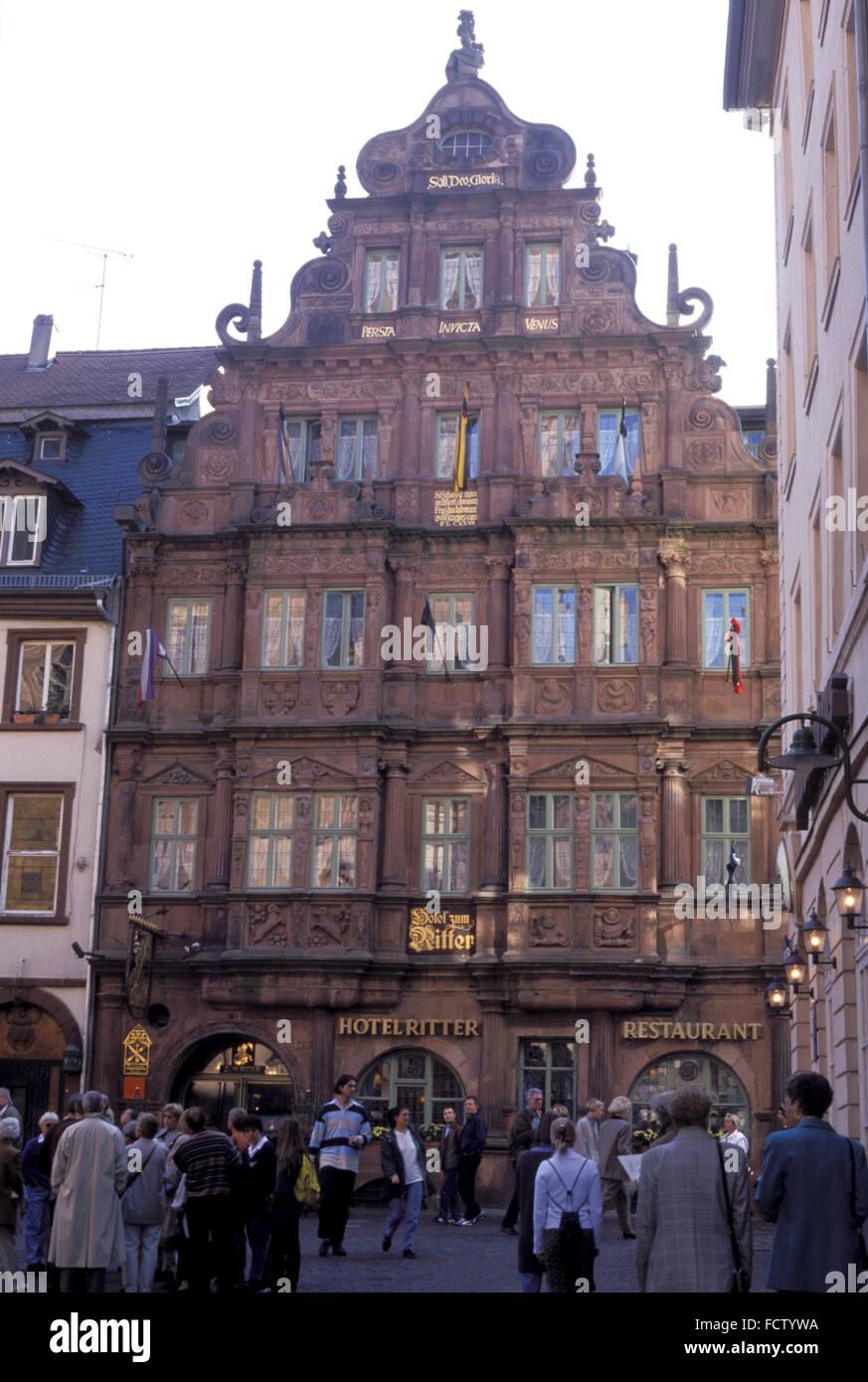 DEU, Deutschland, Heidelberg, Romantik-Hotel Ritter an der Hauptstrasse.  DEU, Deutschland, Heidelberg, Das Romantik Stockbild
