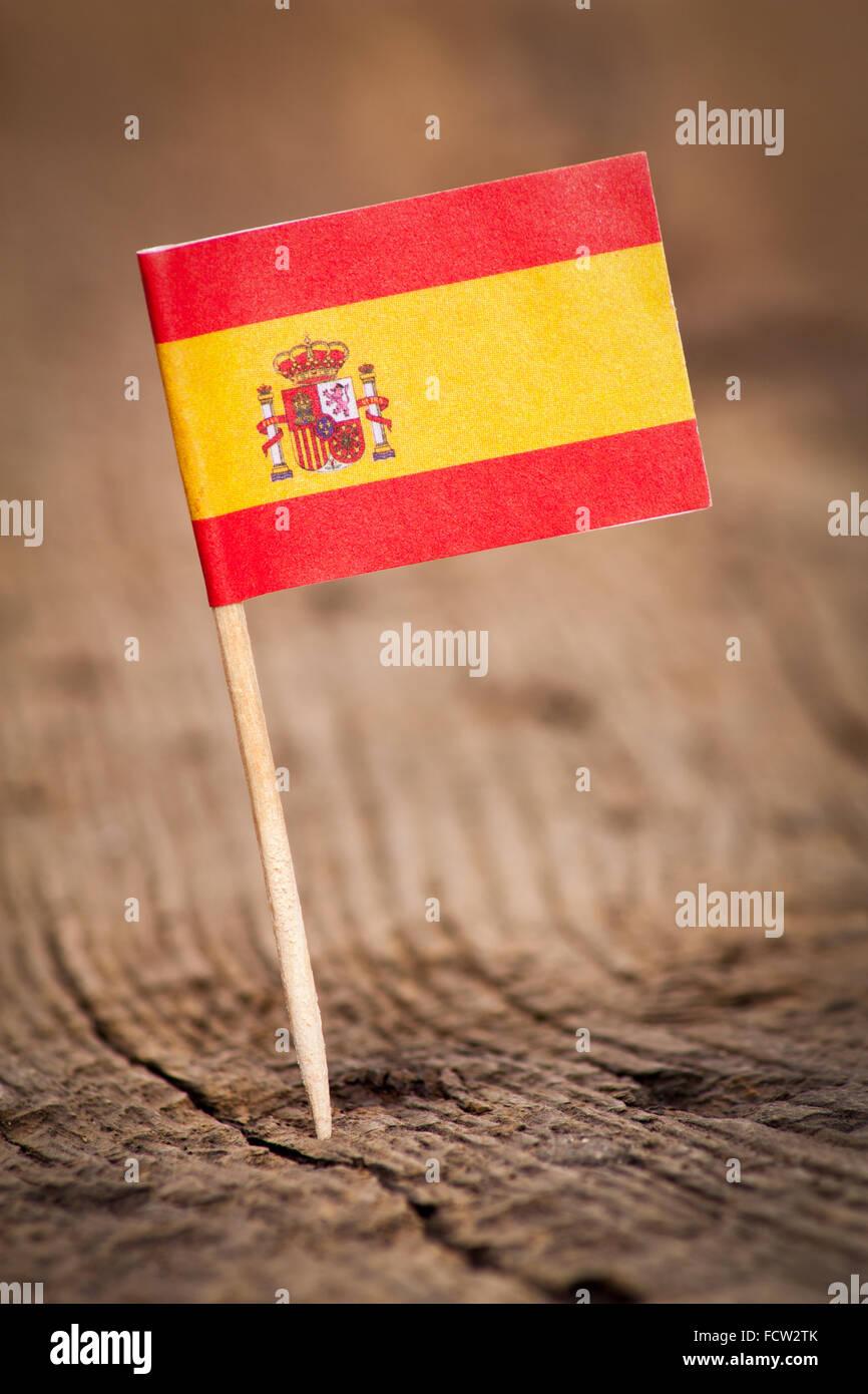 Stilisierte Flagge Spaniens auf hölzernen Hintergrund Stockbild