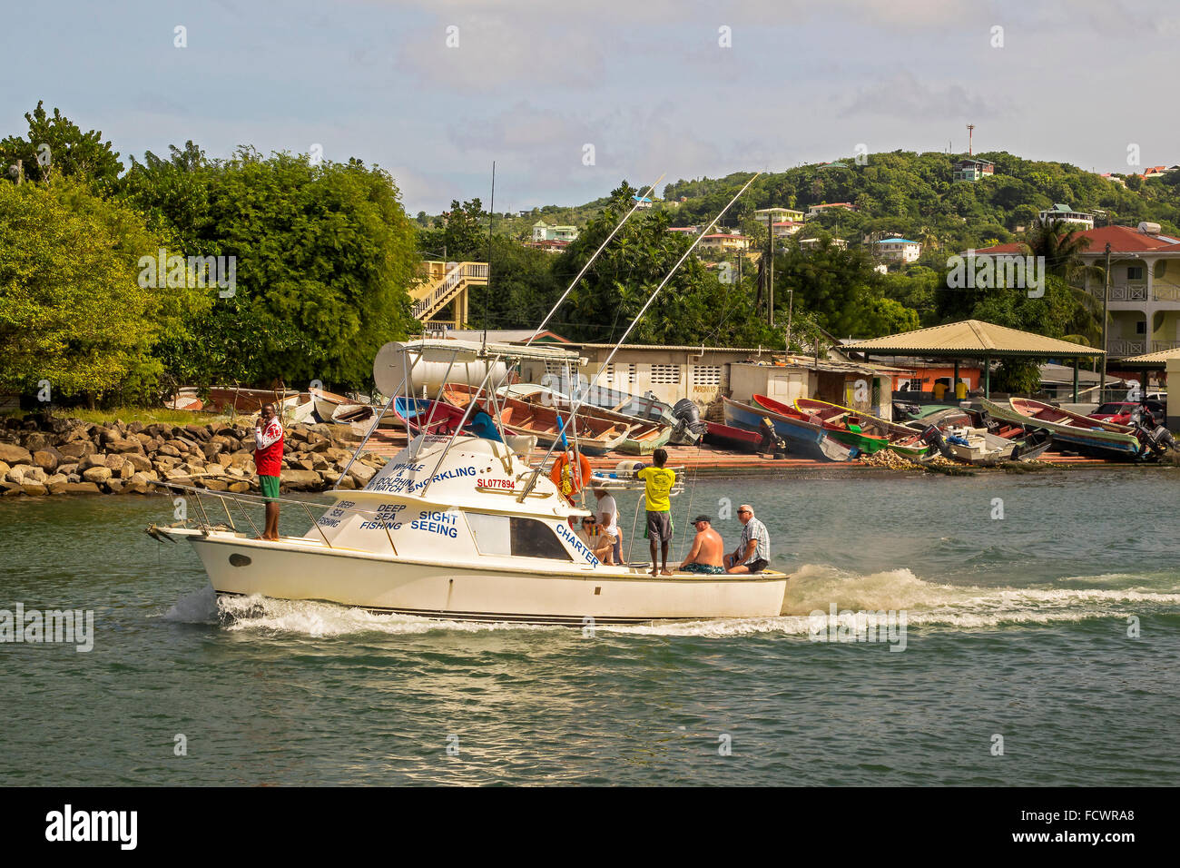 Sightseeing-Boot Rodney Bay St. Lucia West Indies Stockbild