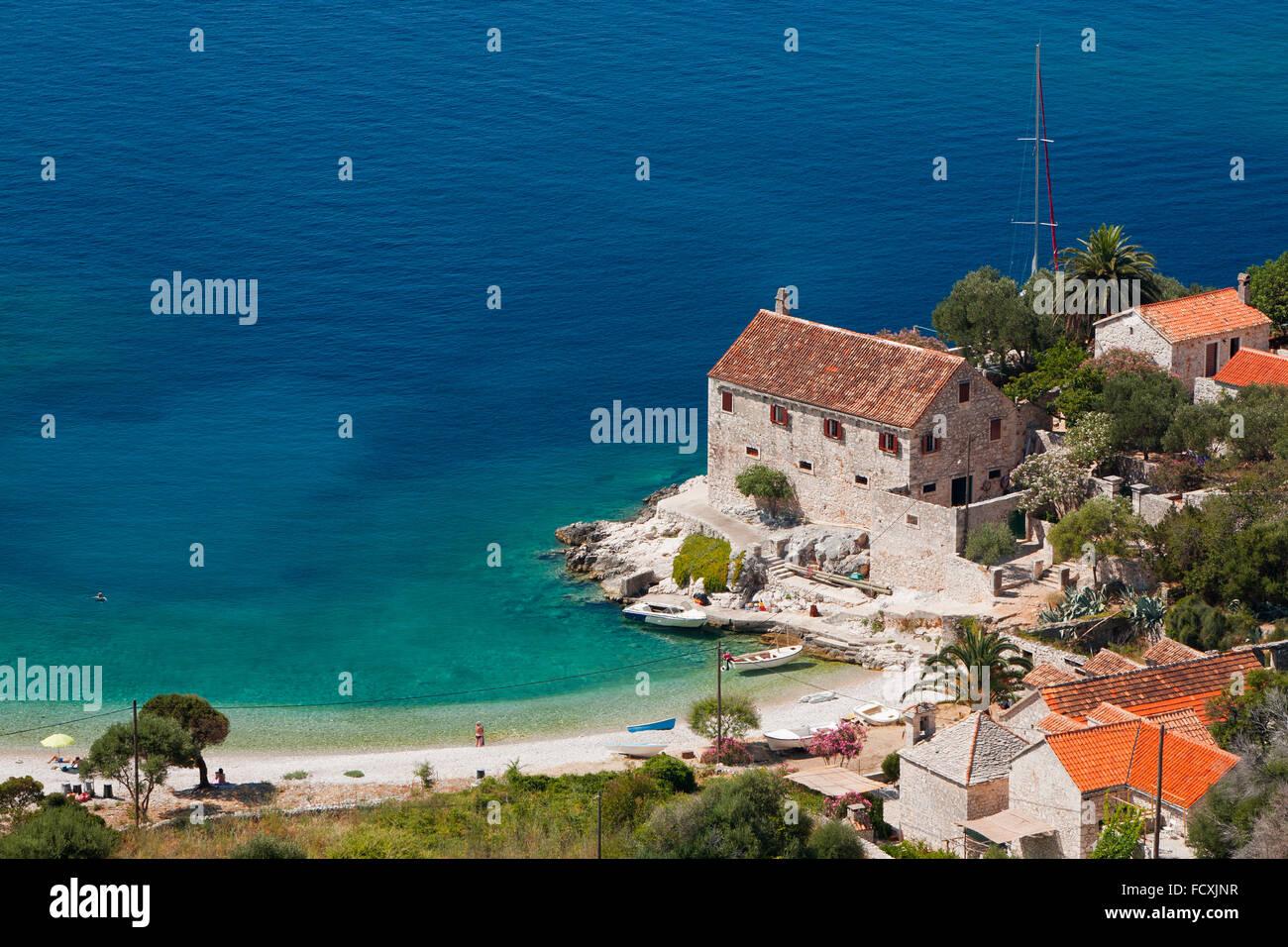 Dubovica Strand, Insel Hvar, Kroatien Stockbild