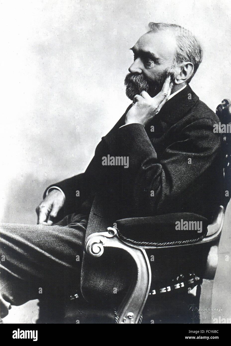 Porträt von Alfred Bernhard Nobel 1833 1896 Chemiker Stockbild