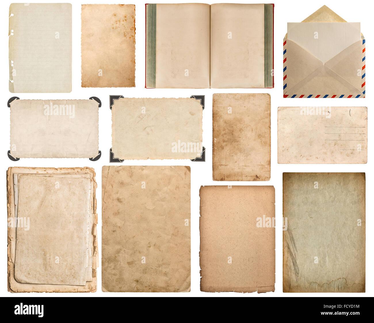 Papierblatt, Buch, Briefumschlag, Karton, Bilderrahmen mit Ecke ...